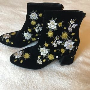 Flower Embroidered Black Booties - flower power